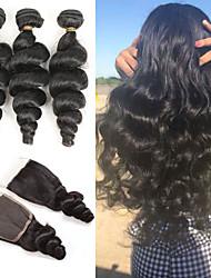 abordables -3 paquets avec fermeture Cheveux Brésiliens Ondulation Lâche Cheveux Naturel humain Extensions Naturelles Trame cheveux avec fermeture 10-26 pouce Naturel Tissages de cheveux humains Doux Meilleure