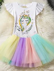 Недорогие -Дети Девочки Уличный стиль Повседневные Контрастных цветов Сетка С короткими рукавами Полиэстер Набор одежды Цвет радуги