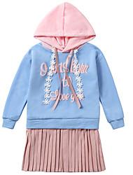 baratos -Infantil / Bébé Para Meninas Activo / Estilo bonito Retalhos Manga Longa Acima do Joelho Vestido Azul Claro