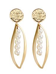 ราคาถูก -สำหรับผู้หญิง ต่างหูติดหู Drop Earrings ต่างหูแบบห่วง ต่างหู รูปเลขาคณิต คลาสสิก เครื่องประดับ สีทอง สำหรับ ทุกวัน เป็นทางการ 1 คู่