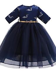 abordables -Enfants / Bébé Fille Actif / Doux Animal Maille / Imprimé Demi Manches Midi Coton / Polyester Robe Rose Claire