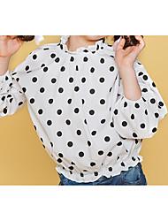 abordables -Enfants Fille Actif / Chic de Rue Couleur Pleine / Points Polka Plissé Manches 3/4 Coton Chemise Blanc