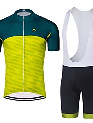 お買い得  -男性用 半袖 サイクリングジャージー ビブショーツ付きサイクリングジャージー - 緑 / イエロー バイク 速乾性 スポーツ 幾何学模様 マウンテンサイクリング ロードバイク 衣類 / 伸縮性あり