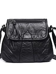 abordables -Mujer Bolsos PU Bandolera Cadena Color sólido Negro
