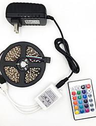 Недорогие -Brelong 5050 DC12V 5 м 300led светлая полоса с 24 ключами дистанционного управления голая плата не является водонепроницаемой RGB с источником питания