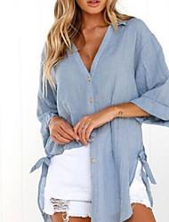 abordables -Mujer Algodón Camisa, Escote en Pico Un Color
