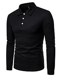 Недорогие -Муж. Рубашка Рубашечный воротник Однотонный Красный