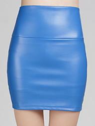 Недорогие -женские юбки из искусственной кожи выше колена - однотонные