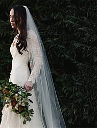 Недорогие -Один слой Европейский стиль Свадебные вуали Соборная фата с Бусины Хлопок / нейлон с намеком на участке