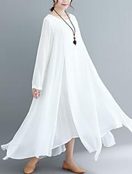 Недорогие -Жен. Шинуазери (китайский стиль) Элегантный стиль С летящей юбкой Платье - Однотонный, Многослойный Ассиметричное