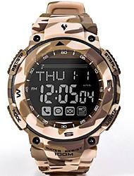 Недорогие -Муж. Армейские часы Охотничьи часы Японский Цифровой Pезина Хаки 100 m Защита от влаги ЖК экран Хронометр Цифровой камуфляж Мода - Хаки Один год Срок службы батареи / Фосфоресцирующий
