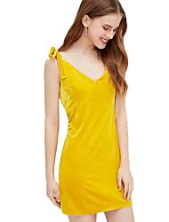 رخيصةأون -المرأة فوق الركبة غمد اللباس ضئيلة عميق الخامس أسود أصفر ق م ل xl