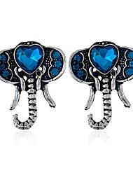 5881d15cb3e7 Mujer Azul Zafiro Sintético Pendientes cortos Aretes Elefante Simple Joyas  Plata Para Diario 1 Par