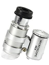Недорогие -45x мощная карманная микроскопическая лупа с подсветкой лупа с лампой