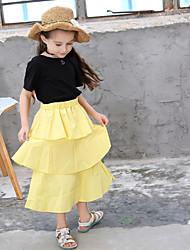 Χαμηλού Κόστους -Παιδιά Κοριτσίστικα Βασικό Μονόχρωμο Πλισέ Κοντομάνικο Κανονικό Κανονικό Πολυεστέρας Σετ Ρούχων Κίτρινο