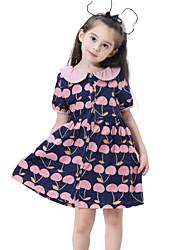 Χαμηλού Κόστους -Παιδιά Κοριτσίστικα Φλοράλ Στάμπα Κοντομάνικο Ως το Γόνατο Φόρεμα Πράσινο του τριφυλλιού