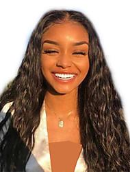 olcso -Szintetikus csipke front parókák Hullám / Loose Curl Fekete Réteges frizura Fekete 130% Emberi haj Sűrűség Szintetikus haj 24 hüvelyk Női Női Fekete Paróka Hosszú Csipke eleje Sylvia