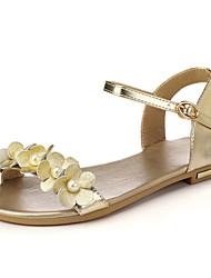ieftine -Pentru femei Piele / PU Vară Sandale Toc Drept Vârf deschis Imitație de Perle / Cataramă / Dantelă de Cusut Auriu / Alb / Negru