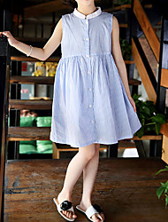 baratos -Infantil Para Meninas Activo / Estilo bonito Sólido / Listrado Pregueado Sem Manga Acima do Joelho Algodão Vestido Azul