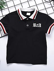 baratos -Infantil Para Meninos Básico Estampado Estampado Manga Curta Algodão Camiseta Branco