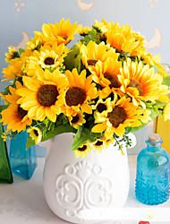 abordables -Fleurs artificielles 5 Une succursale Classique Accessoires de Scène style pastoral Tournesols Fleurs éternelles Fleur de Table
