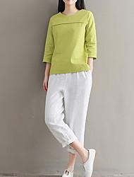 halpa -naisten liinavaatteet ohut t-paita - pyöreä kaula-aukko