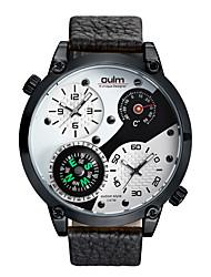 Недорогие -Oulm Муж. Спортивные часы Японский Японский кварц Натуральная кожа Черный 30 m Термометр Компас С двумя часовыми поясами Аналоговый Мода - Белый Черный Один год Срок службы батареи