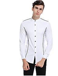 cheap -men's eu / us size cotton shirt - solid colored standing collar