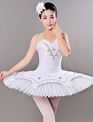 cheap -Ballet Dresses / Tutus & Skirts Women's Training / Performance Polyester / Mesh Feathers / Fur / Crystals / Rhinestones Sleeveless Dress