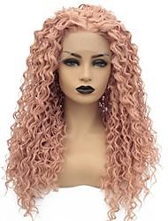 저렴한 -합성 레이스 프론트 가발 곱슬한 스타일 중간 부분 글루리스 (glueless) / 전면 레이스 가발 핑크 로즈 골드 인조 합성 헤어 22-26 인치 여성용 내열성 / 여성 / 중간 부분 핑크 가발 긴 / 흑인 가발
