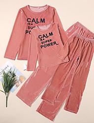 Недорогие -Взрослые Дети Мама и я Классический Повседневные Однотонный Буквы Длинный рукав Длинный Набор одежды Красный