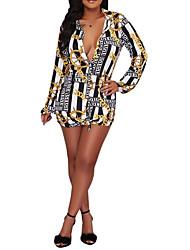 رخيصةأون -المرأة فوق الركبة قميص اللباس قميص طوق القطن الأصفر ق م ل xl