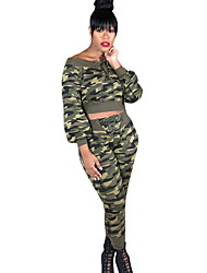 abordables -Femme Simple Activewear Set camouflage