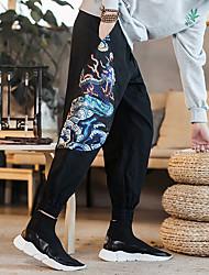 Недорогие -Муж. Брюки-штаны Сплетенные брюки Гарем Виды спорта Брюки Нижняя часть Фитнес Тренировка в тренажерном зале Дышащий Быстровысыхающий Впитывает пот и влагу 3D-печати Черный M L XL XXL XXXL 4XL