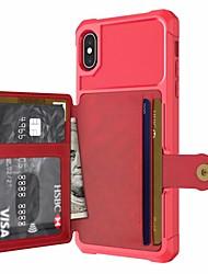 preiswerte -Hülle Für Apple iPhone XR / iPhone XS Max Geldbeutel / Kreditkartenfächer / mit Halterung Rückseite Solide Hart PU-Leder / TPU / Metal für iPhone XS / iPhone XR / iPhone XS Max