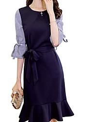 저렴한 -여성용 우아함 칼집 드레스 - 줄무늬 컬러 블럭, 레이스 -업 무릎 위