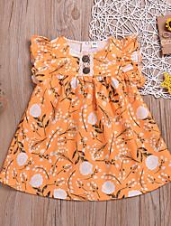 tanie -Dziecko Dla dziewczynek Podstawowy / Moda miejska Nadruk Nadruk Krótki rękaw Nad kolano Bawełna Sukienka Żółty