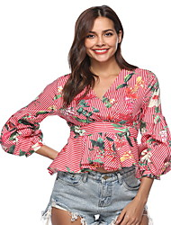 baratos -Mulheres Blusa Listrado / Floral Decote V Delgado