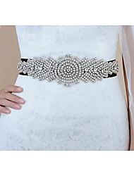 זול -סאטן אחיד חתונה / אירוע מיוחד אבנט עם חגורה / קצוות / קריסטלים / אבנים נוצצות בגדי ריקוד נשים אבנטים / סרט ריינסטון