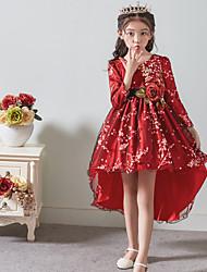 baratos -Princesa Assimétrico Vestido para Meninas das Flores - Cetim / Tule Manga Longa Decorado com Bijuteria com Apliques / Cinto de LAN TING Express