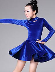 ราคาถูก -ชุดเต้นละติน / ชุดเต้นสำหรับเด็ก ชุดเดรสต่างๆ เด็กผู้หญิง การฝึกอบรม / Performance Pleuche ระบาย Cascading แขนยาว ชุดเดรส