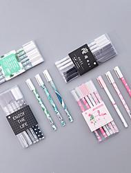 Недорогие -Пластиковый корпус Розовый / Армейскийзеленый / Черно-белый 3 предмета Гелевая ручка 18*4.5*1 cm