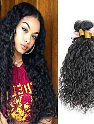 Недорогие -4 Связки Индийские волосы Волнистые Не подвергавшиеся окрашиванию человеческие волосы Remy Косплей Костюмы Человека ткет Волосы Сувениры для чаепития 8-28 дюймовый Естественный цвет