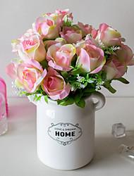 abordables -Fleurs artificielles 2 Une succursale Classique Mariage style pastoral Roses Fleurs éternelles Fleur de Table