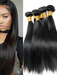 olcso -6 csomag Brazil haj Egyenes 100% Remy hajszövési csomó Sisak Az emberi haj sző Bundle Hair 8-28 hüvelyk Természetes szín Emberi haj sző Szagmentes Puha Selymes Human Hair Extensions Női