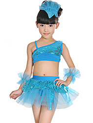 cheap -Latin Dance / Kids' Dancewear Outfits Girls' Training / Performance Polyester / Mesh Sash / Ribbon / Split Joint / Paillette Sleeveless Hair Jewelry / Skirts / Top