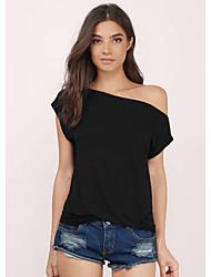 billiga -Enfärgad T-shirt Dam Enaxlad Smal