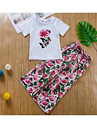 preiswerte -Baby Mädchen Grundlegend / Street Schick Druck Druck Kurzarm Standard Standard Baumwolle Kleidungs Set Weiß