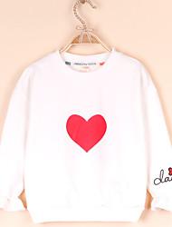 billige -Barn Jente Aktiv / Gatemote Ensfarget Trykt mønster Langermet Bomull / Spandex Hettegenser og sweatshirt Hvit