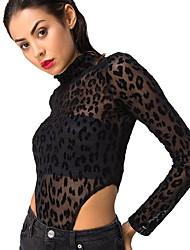 hesapli -Kadın ab / us beden ince tişört - leopar yuvarlak yakalı